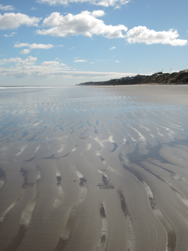 Sky, sea and rippling sand