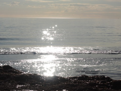 The sun's path over the sea