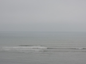 The sea looked grey and uninviting